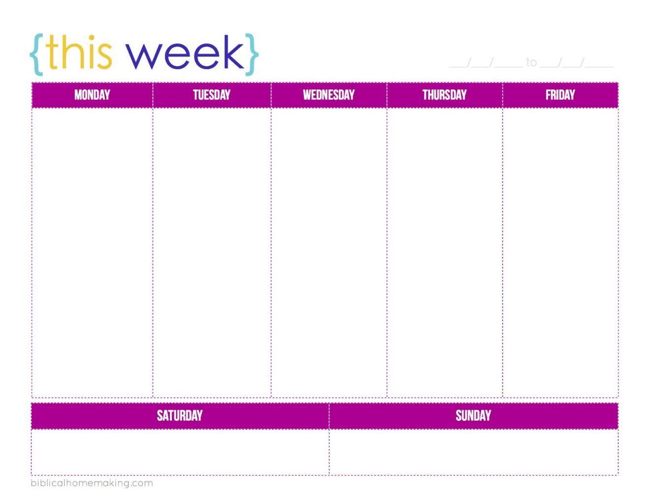 weekly calendar 2017 printable