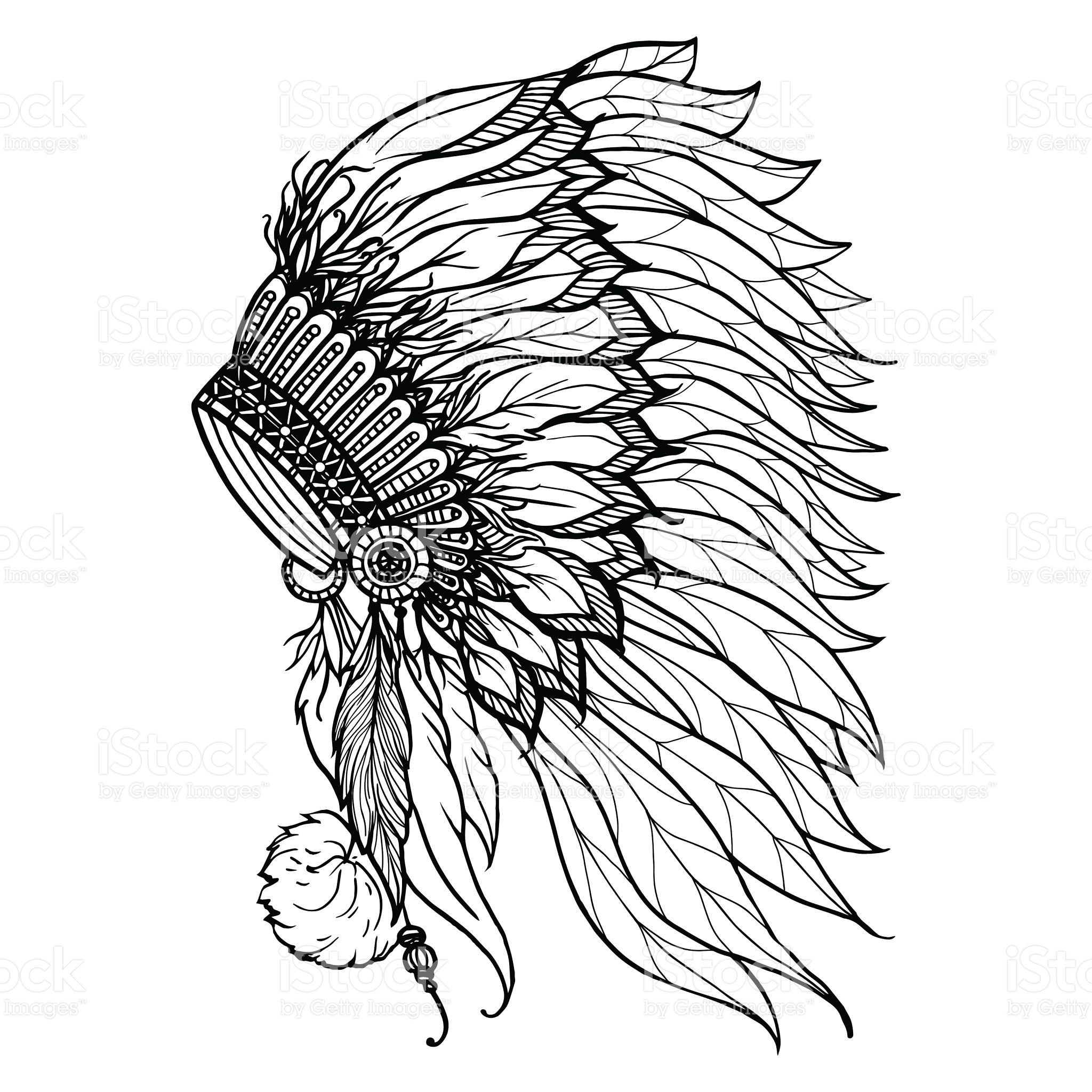 Doodle headdress for native american indian chief isolated on white ...
