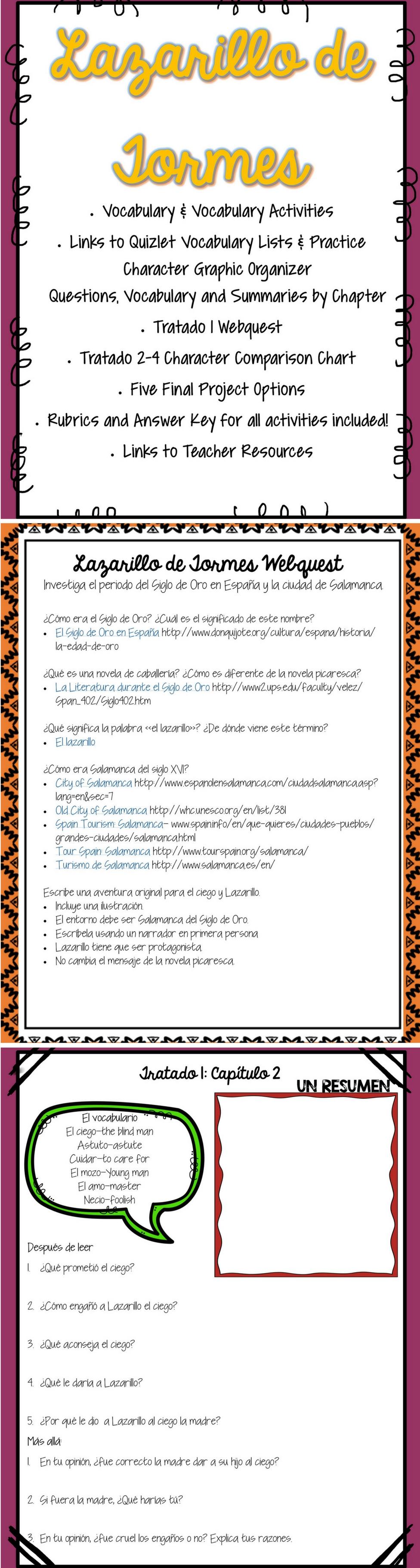 Lazarillo de Tormes Lesson Plans Unit Plans in Spanish ...