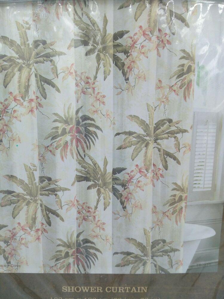 Tommy Bahama Fabric Shower Curtain Bonny Cove Palm Orchids Cotton Bathroom Decor Tommybahama T Curtain Patterns Fabric Shower Curtains Printed Shower Curtain
