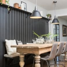 Neutral Kitchen With Black Shiplap Accent Wall Accent Wall In Kitchen Elegant Benches Dining