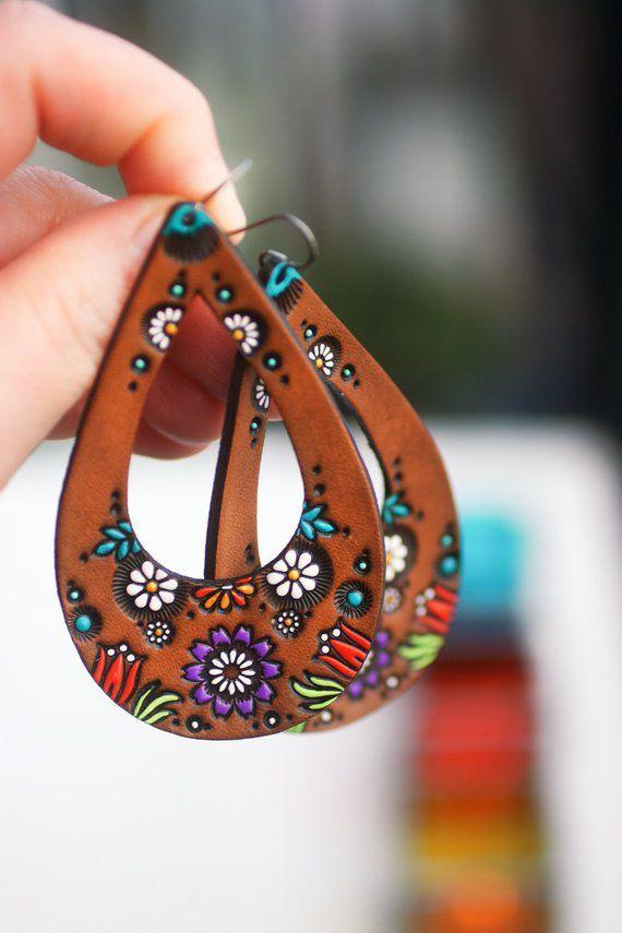 Photo of Teardrop Wildflower and Daisy Leather Earrings – Tulip Bohemian Jewelry – Choose …