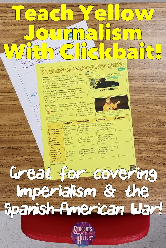 Yellow Journalism And Clickbait Headline Project For American - Us history map activities spanish american war