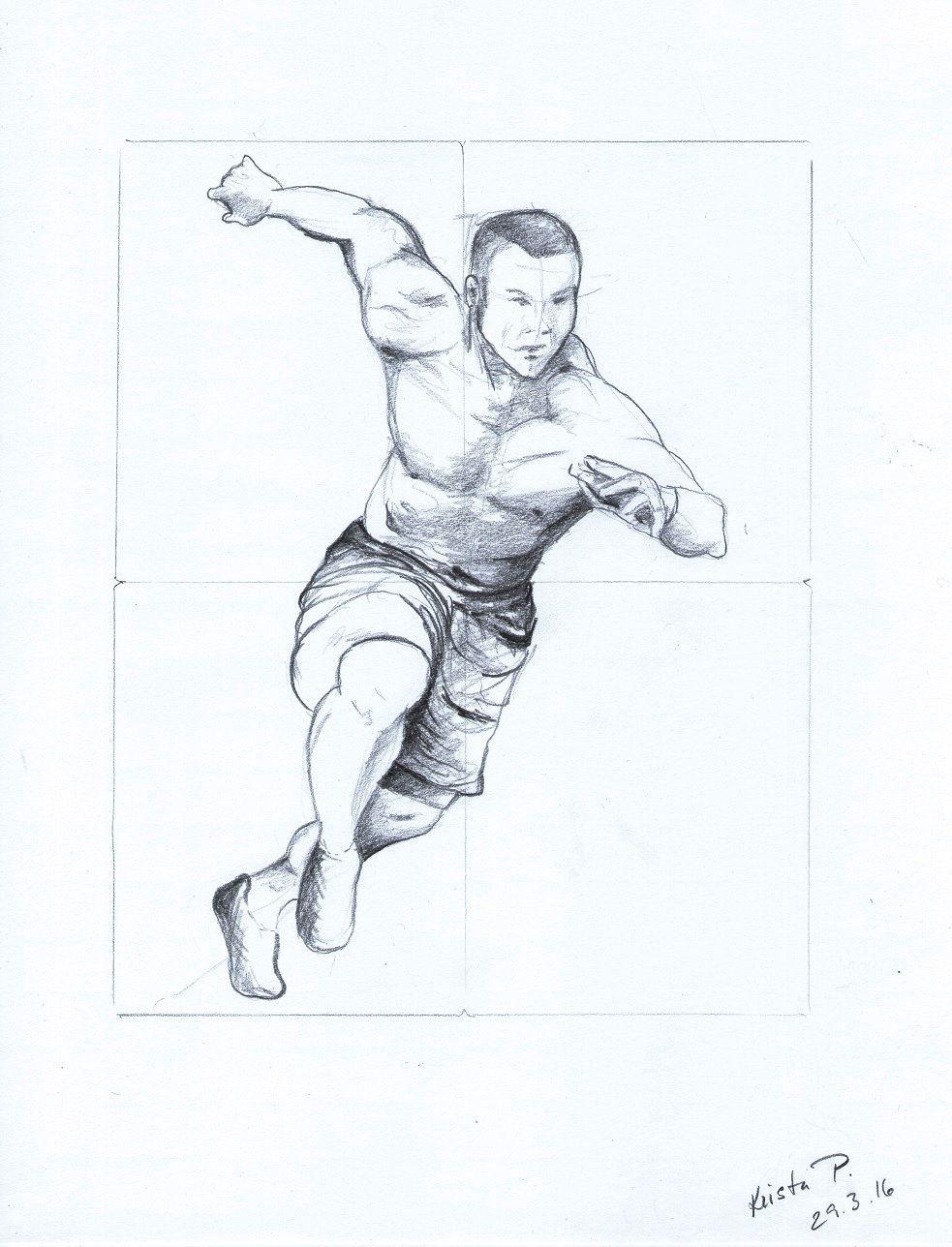 Athlete, pencil, study, artist Kristýna Pavluvčíková.