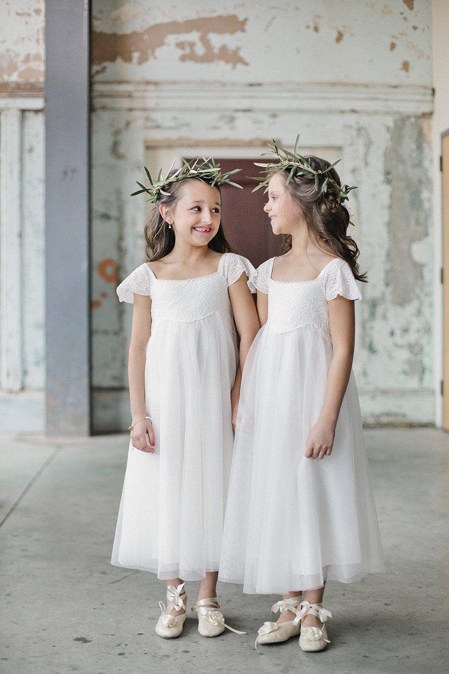Princess LaceuMesh Cap Sleeves White Flower Girl Dresses FL