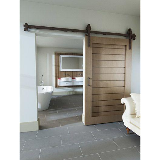 rail coulissant et habillage acier cottage pour porte de largeur 93 cm porte coulissante. Black Bedroom Furniture Sets. Home Design Ideas