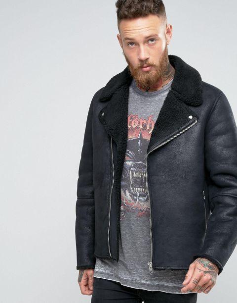 Faux Shearling Biker Jacket In Black