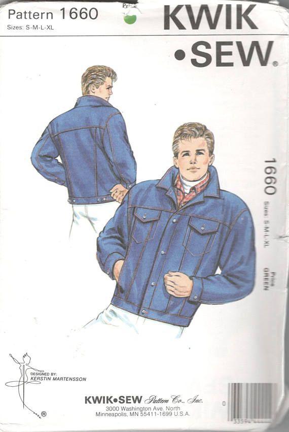 Kwik Sew 1660 1980s Mens Button Front Jeans Jacket Pattern Adult