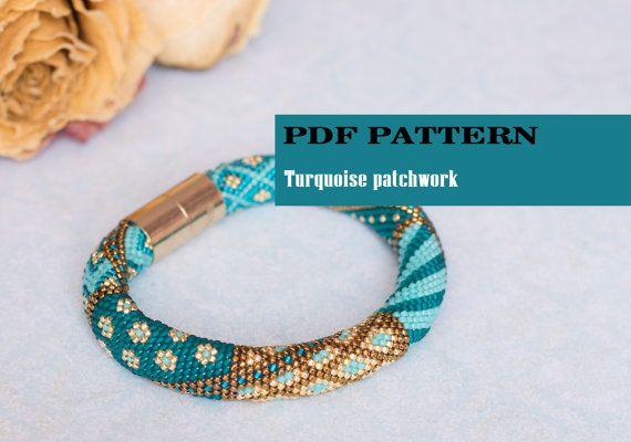 PDF pattern for crochet bracelet - Seed bead crochet rope - Jewelry patterns - Geometric design - Turquoise gold bracelet - Crochet bangle