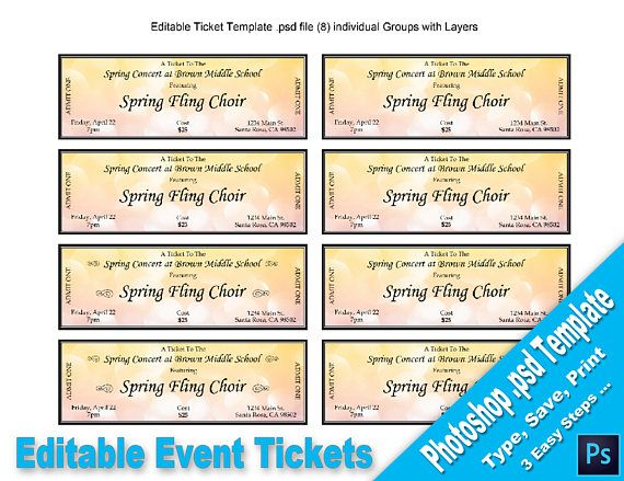 Printable Event Tickets Event Tickets Editable Photoshop Psd Template Printable Instant .