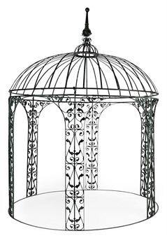 Rod Wrought Iron Green Painted Gazebo Modern Private Collections