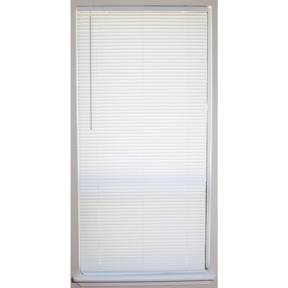 White Cordless 1 In Vinyl Mini Blind 34 In W X 64 In L 201504008 The Home Depot Vinyl Blinds Vinyl Mini Blinds Blinds