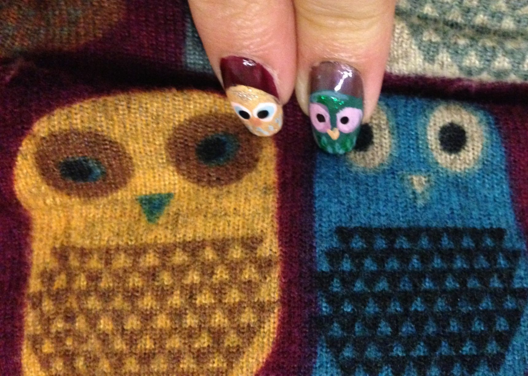 Owl Nail Design As Birthday Present S Pinterest Owl