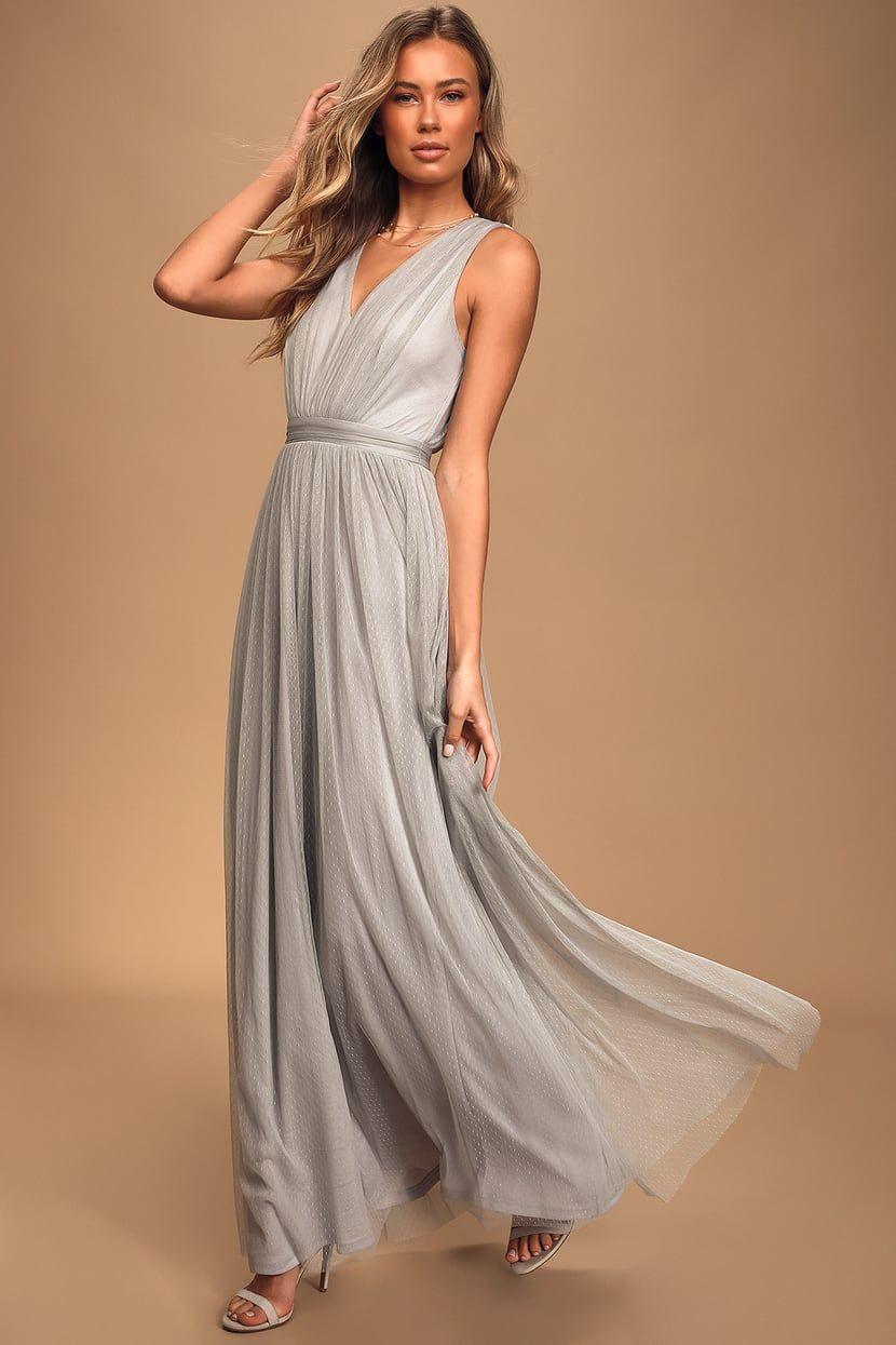 How Charming Light Grey Swiss Dot Maxi Dress Maxi Dress Light Grey Dress Light Grey Bridesmaid Dresses [ 1245 x 830 Pixel ]