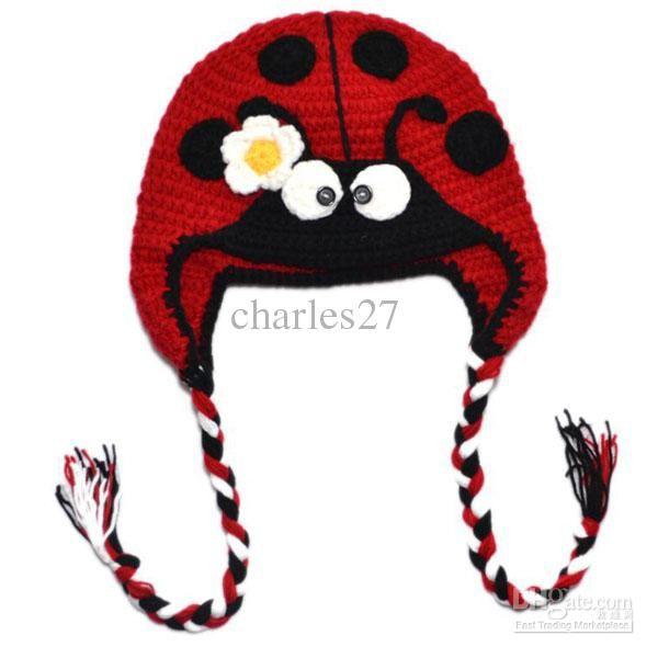 Animal Crochet Ladybug Hat Baby Knitting Hats Girl Handmade Crochet ...