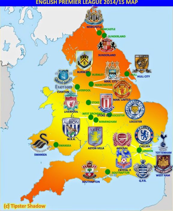 English Premier League Map Pin by Retro Soccer Mom on English Premier League | Pinterest  English Premier League Map