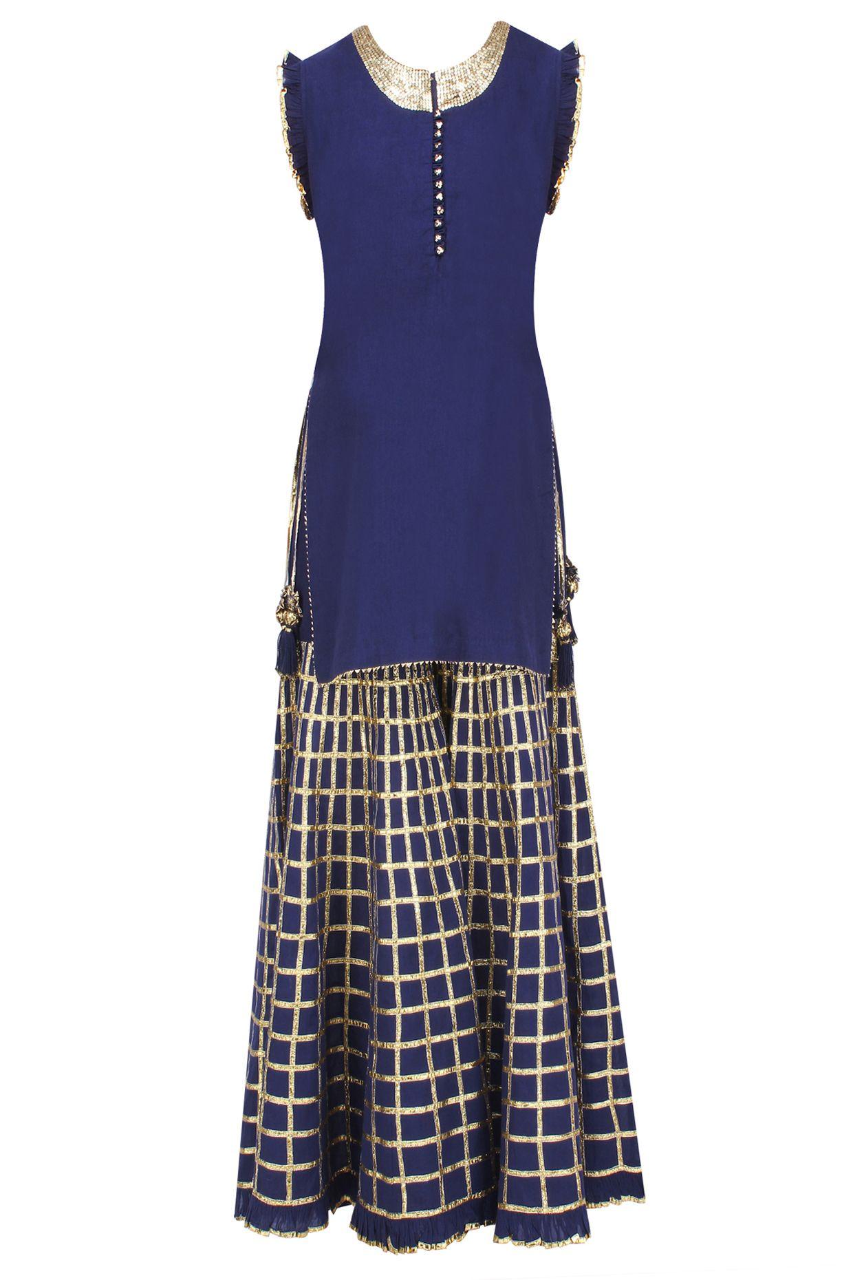 Navy blue gota patti work kurta and sharara pants set available only at Pernia's Pop Up Shop.
