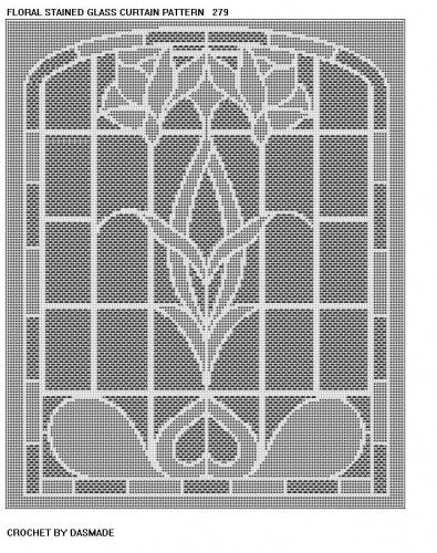 Floral Stained Glass Filet Crochet Curtain Pattern 279 Crochet