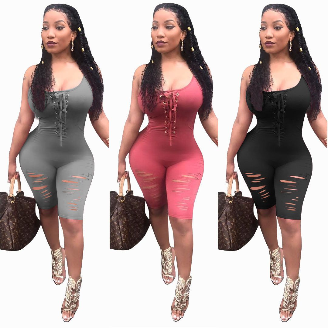 1dc2ccba815 Womens Sleeveless Jumpsuit Bodycon Playsuit Clubwear Party Long Trousers  Suit. Women Spaghetti Strap Bandage Hole Mid Short Bodycon Jumpsuit amp  Romper ...