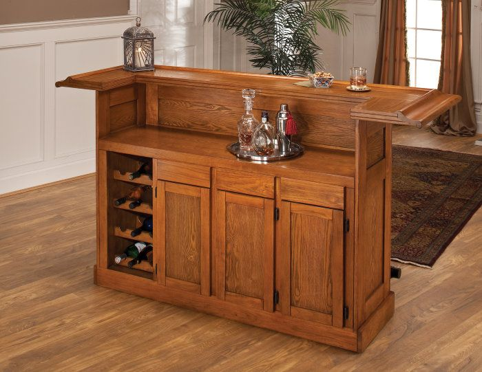 Buy Hillsdale Classic Oak Large Home Bar on sale online. cheap home bar furniture   Roselawnlutheran