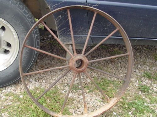 Vintage Cast Iron Wagon Wheel 25 Inch 30 12 Spoke Antique Farm Implement Ebay Antiques Primitive Ebay