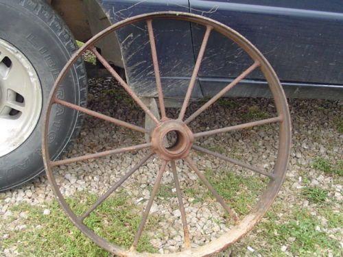 Vintage Cast Iron Wagon Wheel 25 Inch 30 12 Spoke Antique Farm