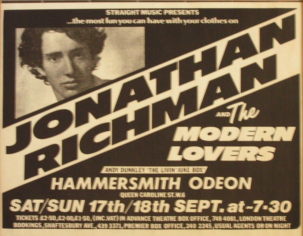 Jonathan Richman And The Modern Lovers Hammersmith Odeon 18th September 1977 The Modern Lovers Jonathan Richman Hammersmith