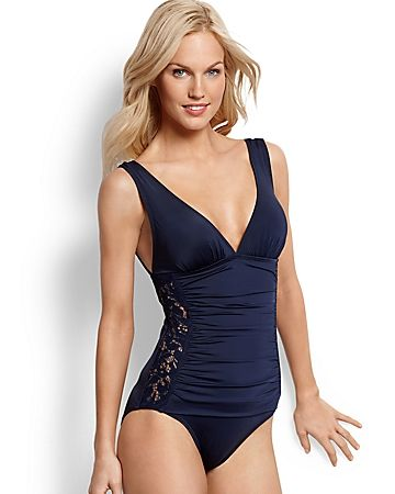 671fe623499 Tommy Bahamas Lace Ahoy V-Neck One-Piece Swimsuit with Lace Side Panels