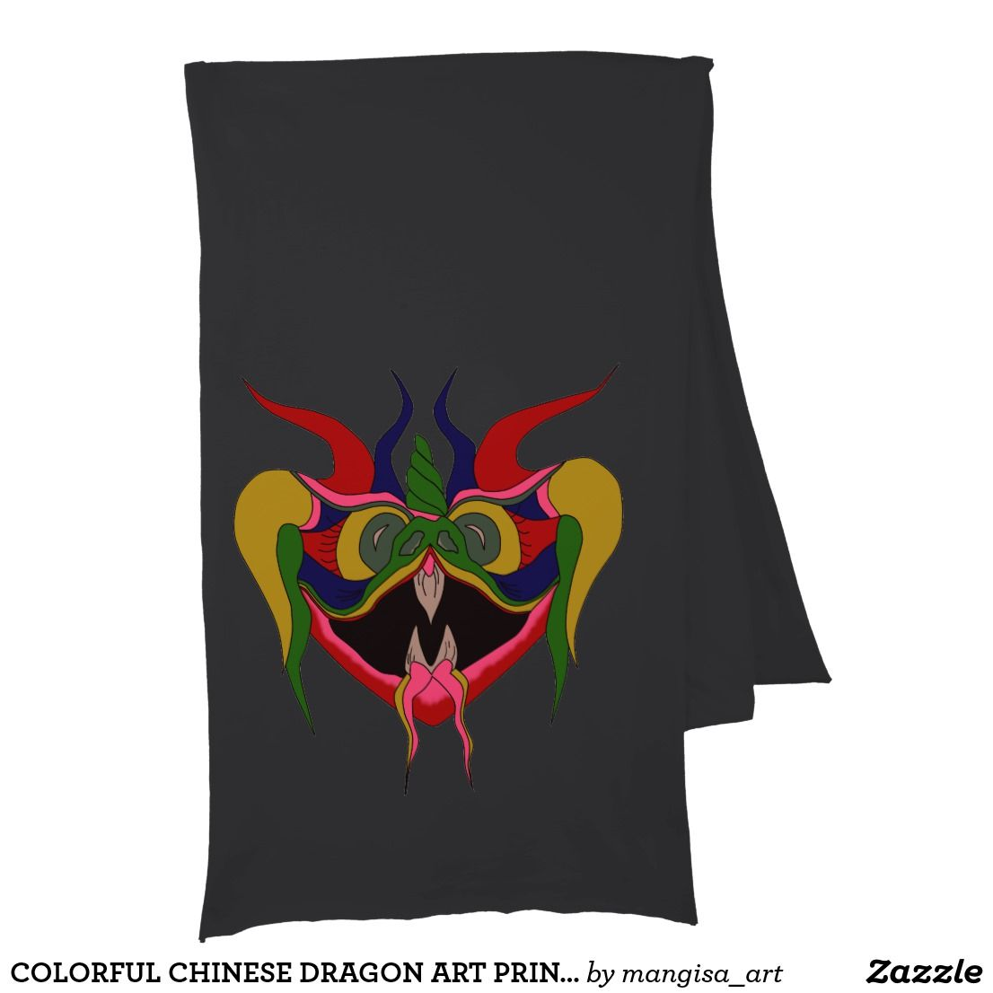 COLORFUL CHINESE DRAGON ART PRINT FOR SCARF