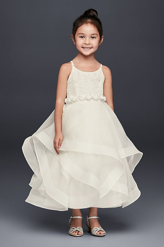 8cddc8bfec4 Lace and Tulle Flower Girl Dress with Full Skirt