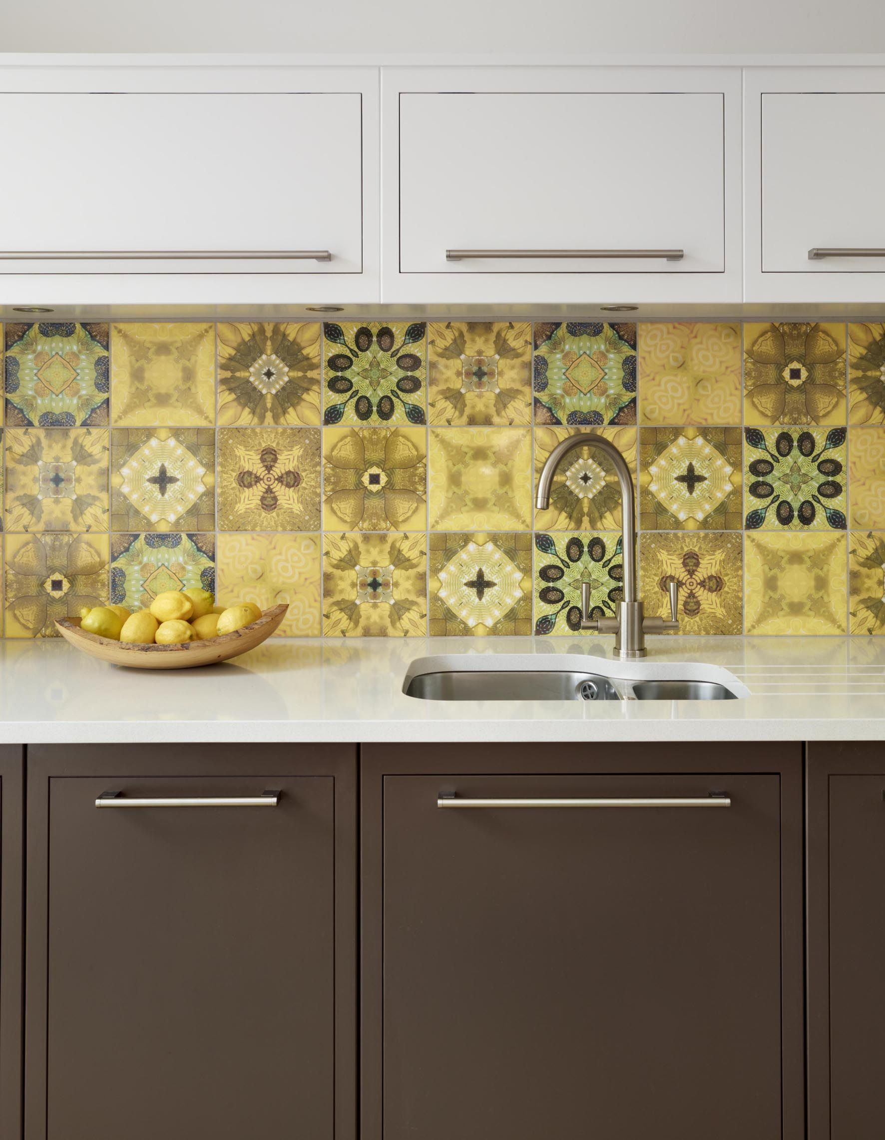 Image result for large yellow patterned tile backsplash