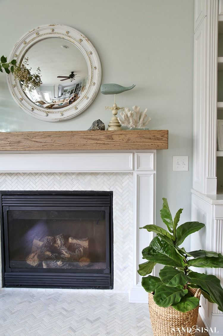 Learn How To Make A Rustic Weathered Oak Diy Wood Beam Mantel And Fireplace Surround This Has Hollow Center Hide Electrical Cords Or Items
