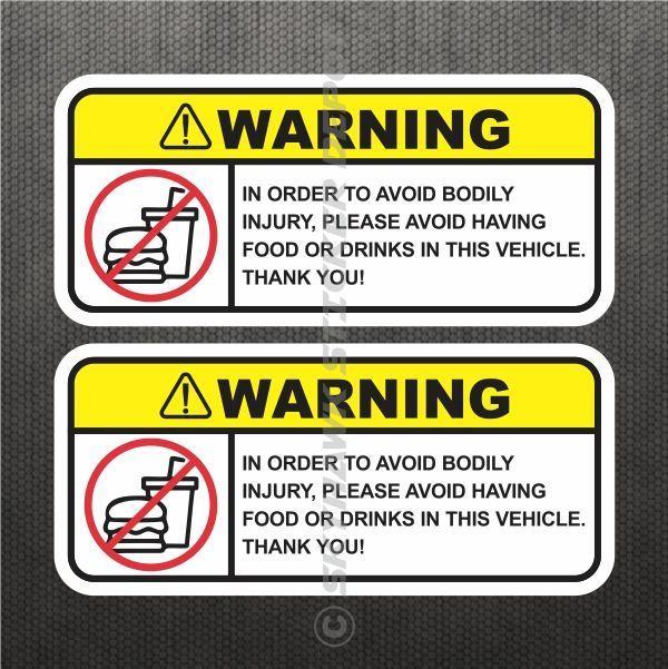 Funny No Food Drink Warning Sticker Set Vinyl Decal Jdm Decal Car Car Stickers Funny Truck Bumper Stickers Funny Decals