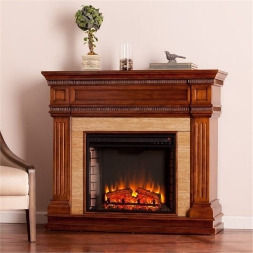 Bowery Hill Faux Stone Electric Fireplace In Oak Faux Stone