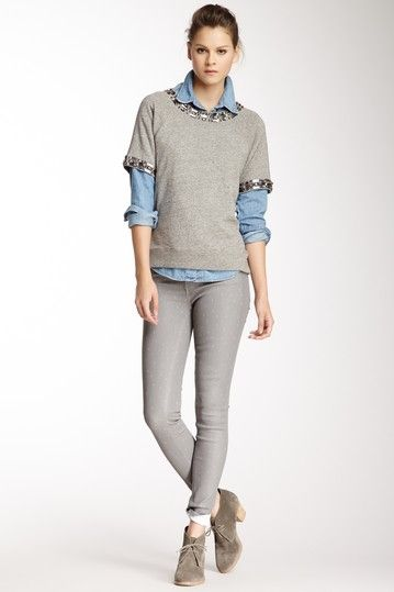 Esra Grey Diamond Mid Rise Skinny Jean on HauteLook