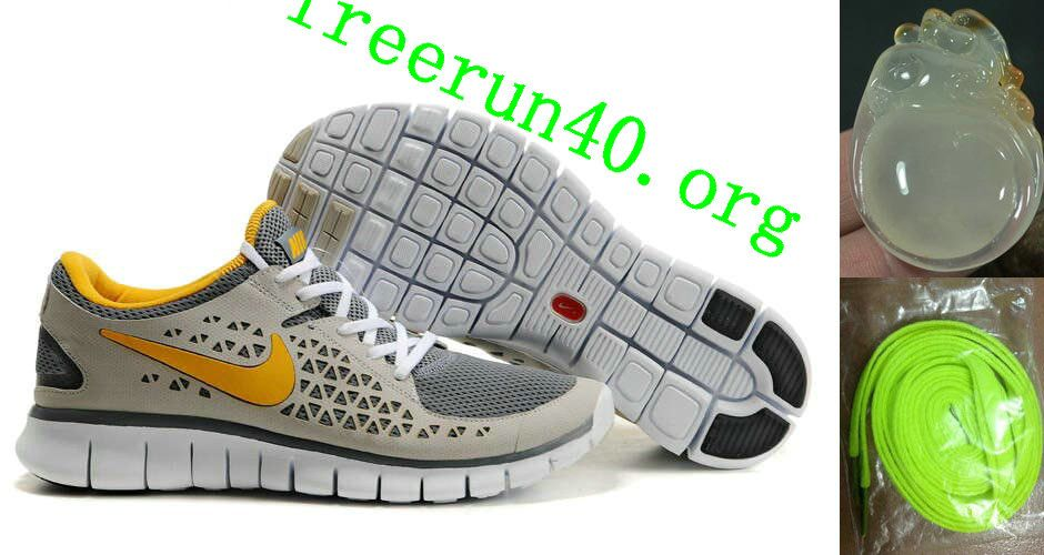 best service 86317 bb63e Volt Lace Womens Nike Free Run Grey Yellow Shoes