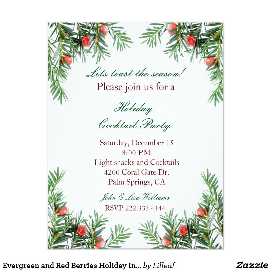 evergreen and red berries christmas new year winter holiday invitation an elegant invitation for any winter holiday party it features a border with