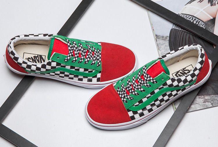 2383490d1000d6 Vans Checkerboard Red Green Black Old Skool Skate Shoes  Vans ...