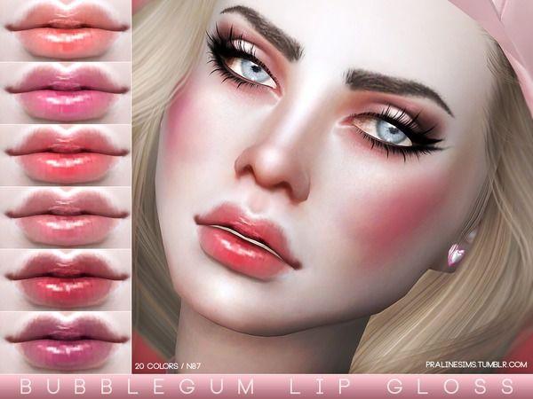 Pralinesims Bubblegum Lip Gloss N87 Sims The Sims Cabelo Sims