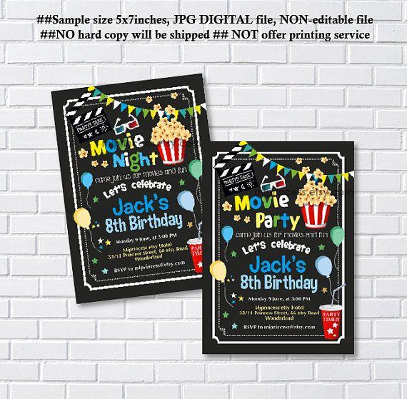 Movie Party Invitation Movie Night Birthday Invitation