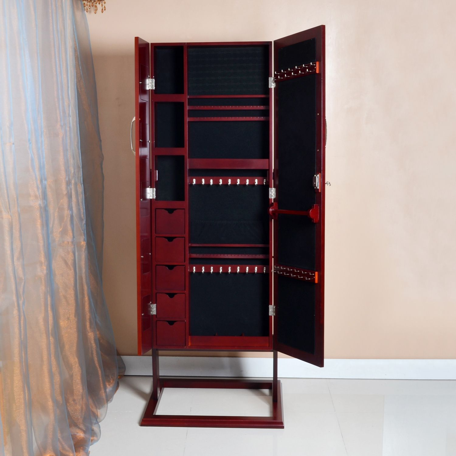 Volek Contemporary Brown Square Foot Floor Standing Double Door Beauty and Jewelry Armoire - Overstock Shopping - The Best Prices on Baxton Studio Bedroom Accents