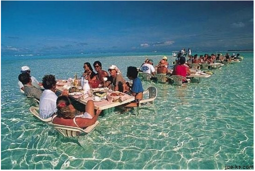 Water Dining in Bora Bora So COOL