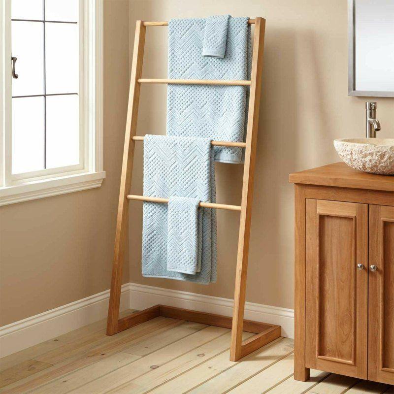 Porteserviette Bois Mural échelle Ou Sur Pied En Idées - Porte serviette en bois