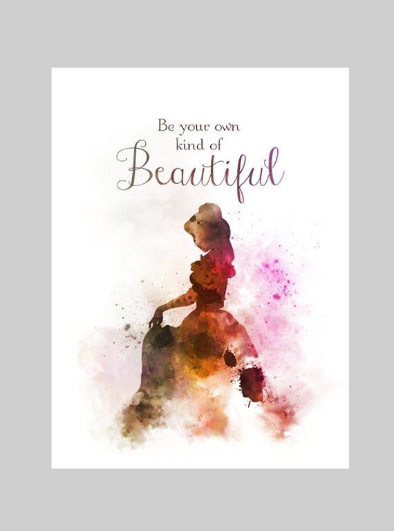 Beauty and the Beast inspired home wall art print disney poster quote