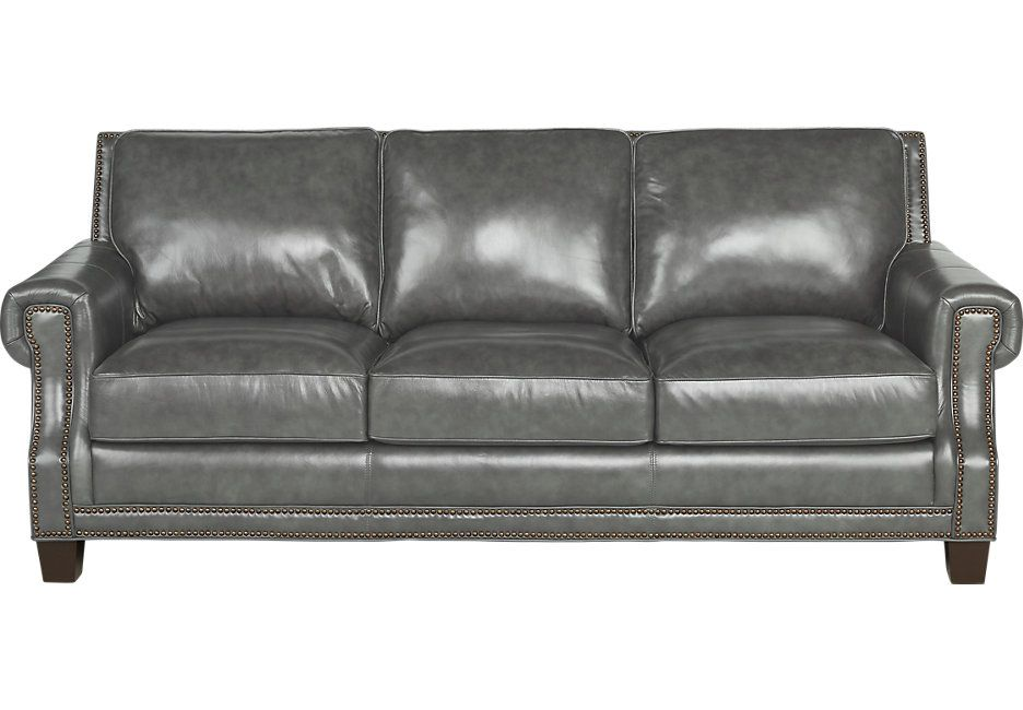 Picture Of Vicenza Charcoal Leather Sofa From Furniture