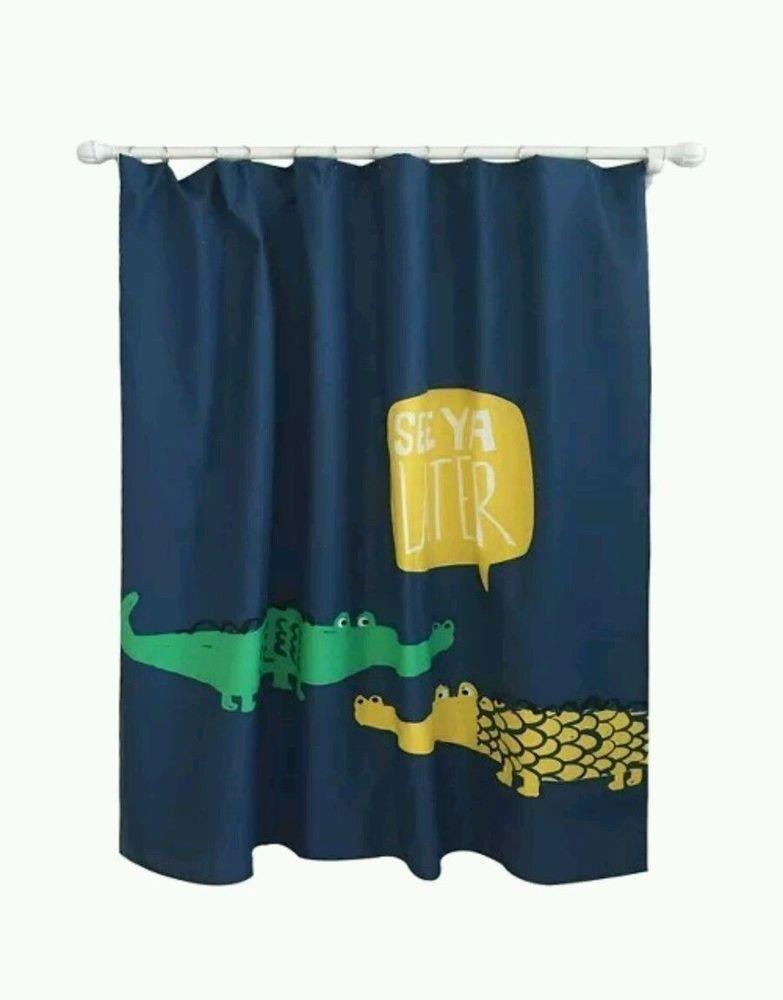 Target Pillowfort Fabric Alligator Shower Curtain 72 X 72 New