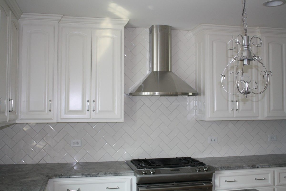 - White Subway Tile Grey Grout Herringbone - Google Search White