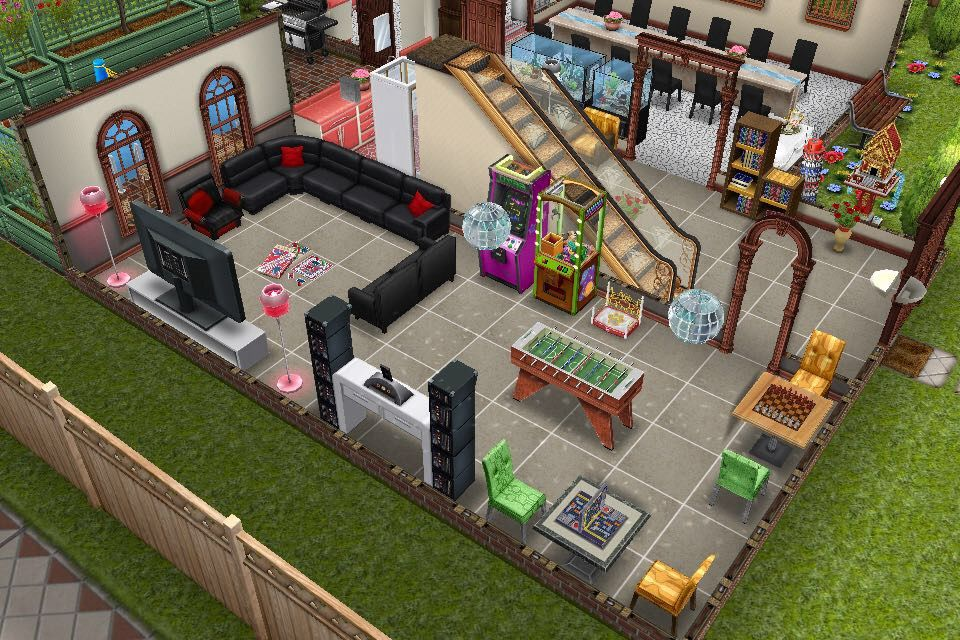 House One Ground Floor Living Room And Game Combined Side View