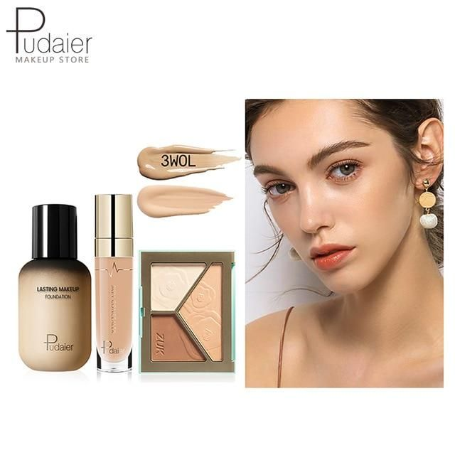 Pudaier Face Foundation Make-up Set Liquid Foundation Creme Matt Highlighter Base Gesicht ALL Concealer Cosmetic Professional Base – 3WOL