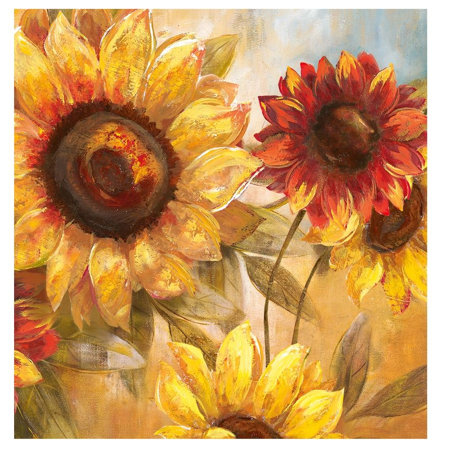 New View Sunflower Cheer 35 X 35 Canvas Wall Art Sunflower Wall Art Wall Canvas Fall Wall Art